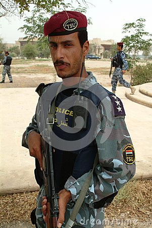 Iraqi police SWAT with Kalashnikov Editorial Photo