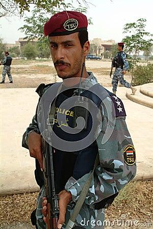 Iraqi police SWAT with Kalashnikov Editorial Photo