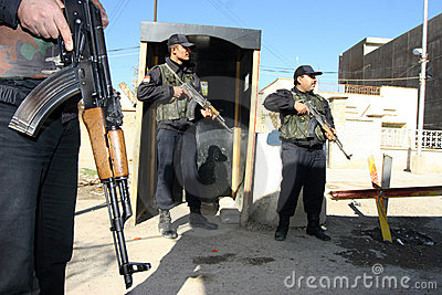 Iraqi Policemen in Kirkuk Editorial Stock Image