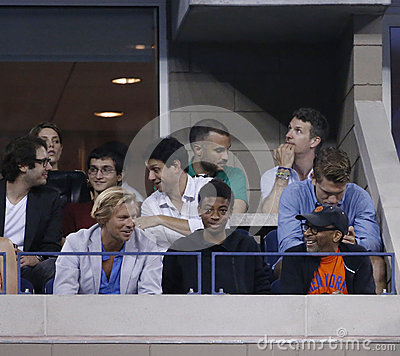 Irector Spike Lee attends match at US Open 2013 between Roger Federer and Adrian Mannarino Editorial Image