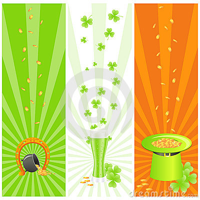 Ireland banners with st. patrick day s symbols