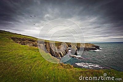 Ireland, cliffs under dramatic sky, Loop Head