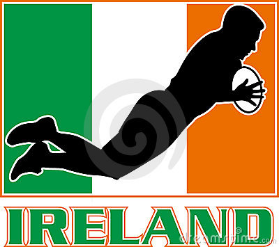 Ireland flag rugby player try dive
