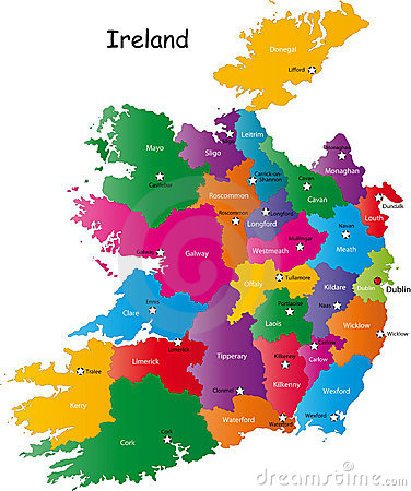 Ireland map Cartoon Illustration