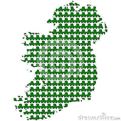 Ireland map with shamrock illustration