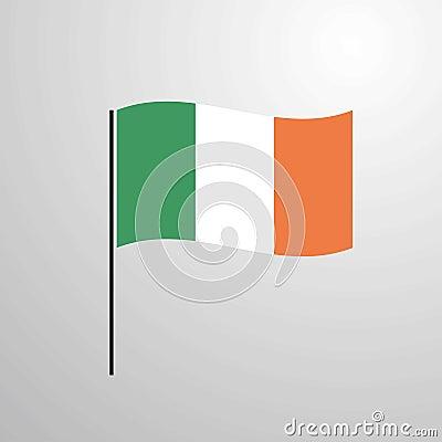 Ireland waving Flag Vector Illustration
