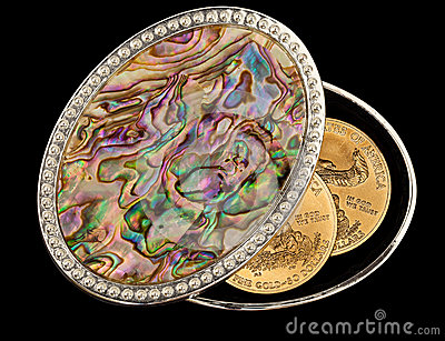Iridescent mother of pearl box gold coins