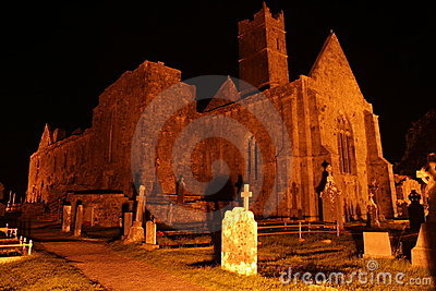 Irish Abbey ruins at night