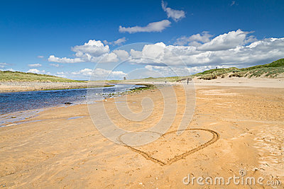 Irish beach with love heart sign