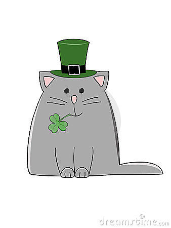 cute grey cat with a green Irish hat and shamrock.