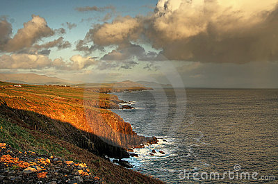 Irish coastline at sunset