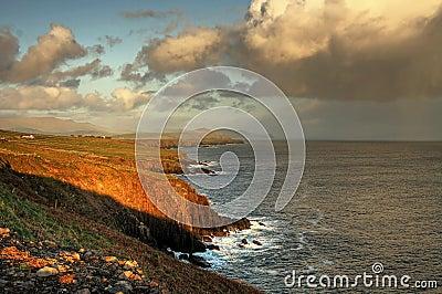 Irish coastline at sunset