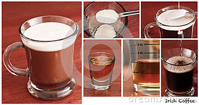 Irish coffee, the making