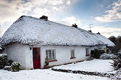 Irish cottage house at winter