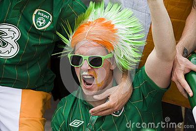 Irish fan in Poznan. Editorial Image