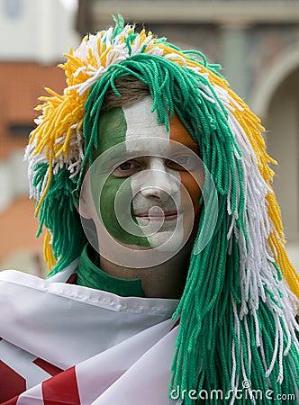 Irish fan in Poznan. Editorial Stock Photo