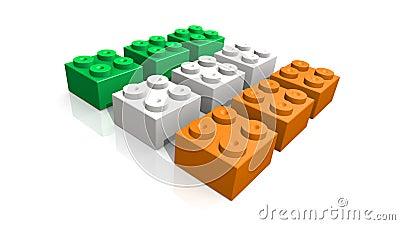Irish flag made with blocks
