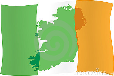 Irish flag & map of Ireland