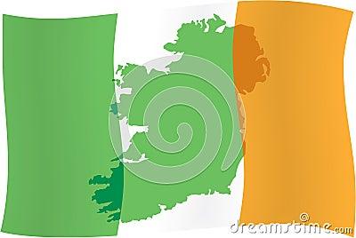 Irish flag & map of Ireland