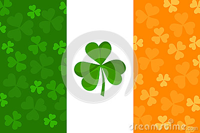 Irish flag with shamrock pattern. Vector.