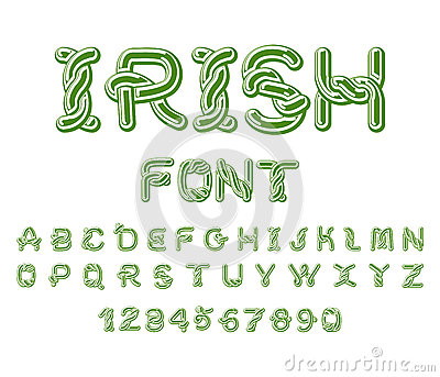 Irish font. National Celtic alphabet. Traditional Ireland orname Vector Illustration