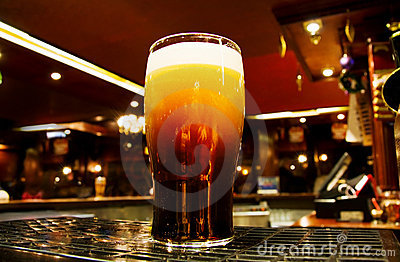 Irish Gold - black beer inside a Dublin pub