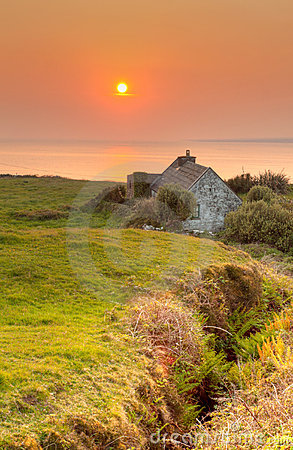 Irish house at sunset in Doolin