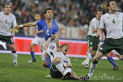 Irish and italian soccer players Editorial Stock Image