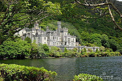 Irish lake kylemore abbey Editorial Stock Image