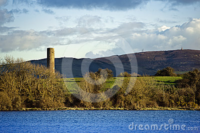 Irish lake Ree with tower