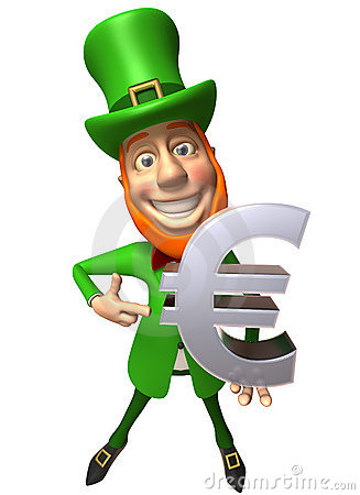 Irish leprechaun with an euro
