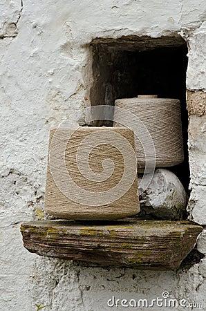 Irish linen yarn on bobbins