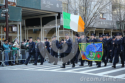 Irish military personnel marching at the St. Patrick`s Day Parade in New York. Editorial Photography
