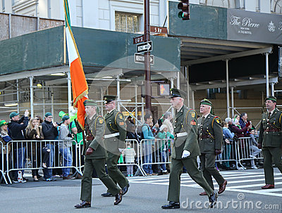 Irish military personnel marching at the St. Patrick`s Day Parade in New York. Editorial Image
