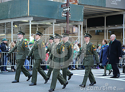 Irish military personnel marching at the St. Patrick`s Day Parade in New York. Editorial Stock Photo