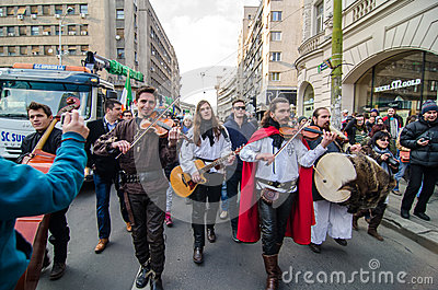 Irish artists performing on saint Patrick Day Editorial Stock Photo