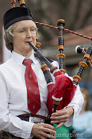 Irish Woman Playing Bagpipes Editorial Photo