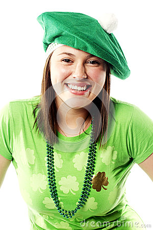 Irish young lady dressed for st patricks day