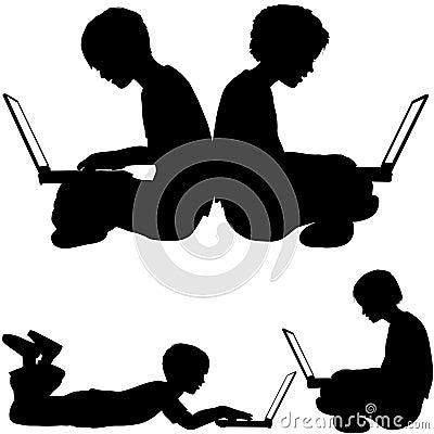 Irl boy use laptops sitting lying on ground