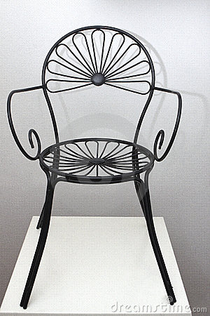 Iron Black Chair with Flower Design