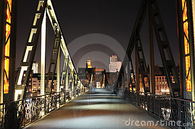 Iron bridge over the Main river. Frankfurt Editorial Photography