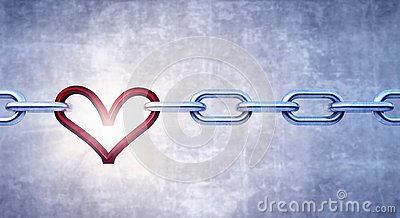 Iron chain with red heart as the one the links Stock Photo