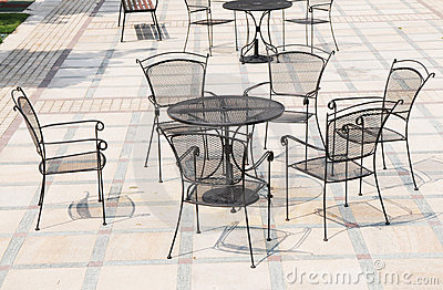 The iron chairs and tables