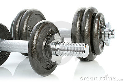 Iron dumbbells set on white