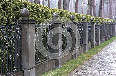 Iron Fence With Stone Pillars Stock Photo Image 36006430