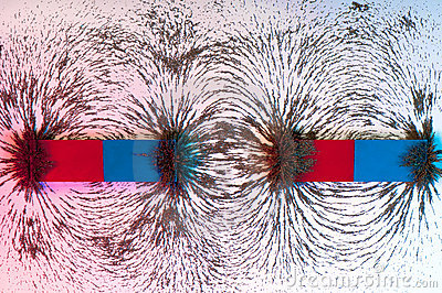 Iron filings on the magnetic field on a magnet