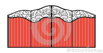 Iron gate with door.
