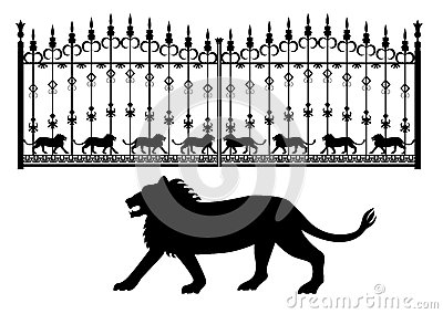Iron gates with lions