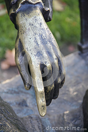 Iron hand sculpture.