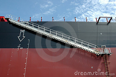 Iron ladder on a tanker ship